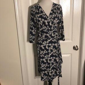 NWT 41 Hawthorn Kaylee Navy Faux Wrap Knit Dress